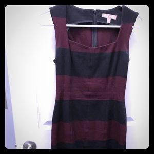 Banana Republic burgundy black striped dress